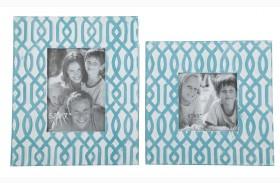 Baina Teal and White Photo Frame Set of 2