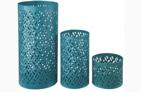 Caelan Teal Candle Holder Set of 3