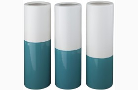 Dalal Teal and White Vase Set of 3