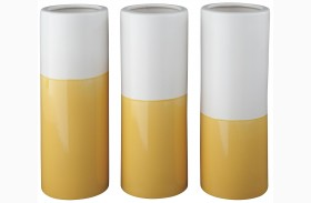 Dalal Yellow and White Vase Set of 3