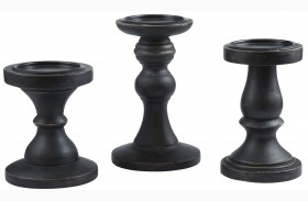 Kadience Black Candle Holder Set of 3