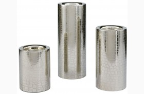 Keyon Nickel Finish Candle Holder Set of 3