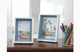 Obie White and Blue Photo Frame Set of 2