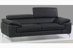 A973 Black Italian Leather Loveseat