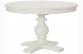 Lynn Haven Soft Dover White Extendable Round Dining Table