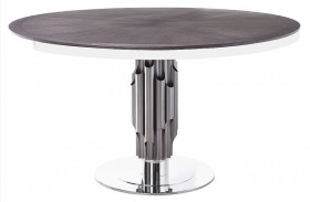Xena Aria Matte Light Grey Round Pedestal Dining Table