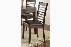 Allison Dark Brown Faux Leather Side Chair Set of 2