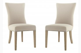 Avery Stone Wash Oatmeal Linen Dining Chair Set of 2