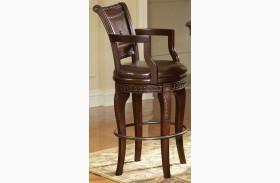 Antoinette Warm Brown Cherry Swivel Bar Chair Set of 2