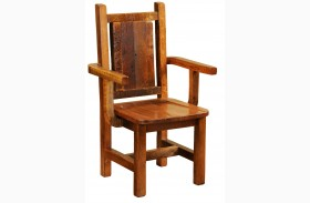 Barnwood Contoured Wood Seat Artisan Dining Arm Chair