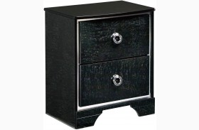 Amrothi Black 2 Drawer Nightstand