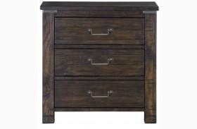 Pine Hill Rustic Pine Wood Drawer Nightstand