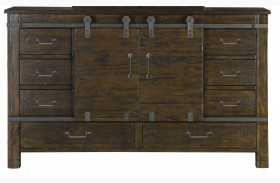 Pine Hill Rustic Pine Wood Sliding Door Dresser