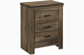 Trinell Brown Two Drawer Nightstand