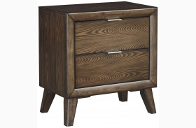 Debeaux Medium Brown 2 Drawer Nightstand