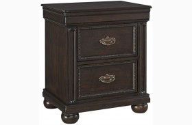 Moluxy Dark Brown 2 Drawer Nightstand