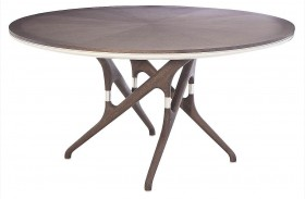 Xena Banyan Matte Light Grey Round Pedestal Dining Table