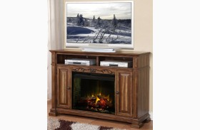 Barclay Rustic Acacia Fireplace Media Center