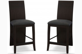 Novara Charcoal Prolo Counter Height Chair Set of 2