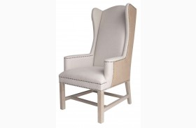 Bennett Espresso Burlap Fabric Arm Chair