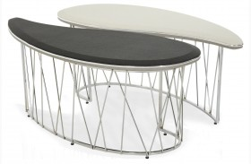 Beverly Boulevard Pearl Caviar Oval 2 piece Cocktail Table
