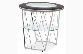 Beverly Boulevard Black & Gray Caviar Round End Table