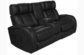 Andromeda Black Leather Gel Power Reclining Loveseat