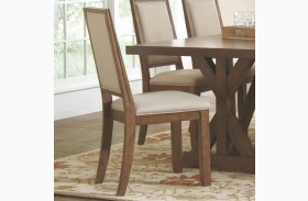 Bridgeport Weathered Acacia Upholstered Dining Chair Set of 2