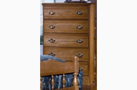 Carolina Oak Golden Oak 5 Drawer Chest