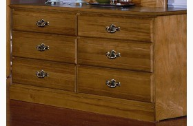 Carolina Oak Golden Oak 6 Drawer Double Dresser