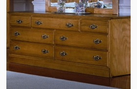 Carolina Oak Golden Oak 7 Drawer Triple Dresser
