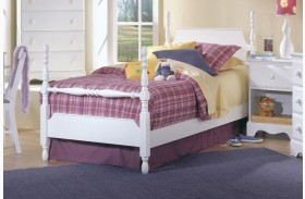 Carolina Cottage White Twin Poster Bed