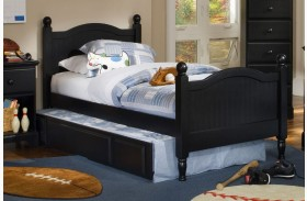 Midnight Black Twin Cottage Panel Bed