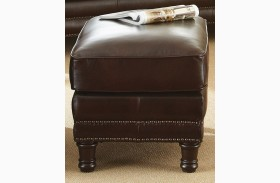 Chateau Top Grain Leather Ottoman