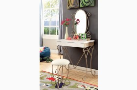 Enchant Champagne Vanity With Stool
