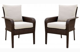 Shakira Ivory and Espresso Arm Chair Set Of 2