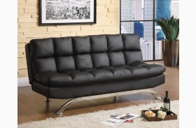 Aristo Black Leatherette Futon Sofa