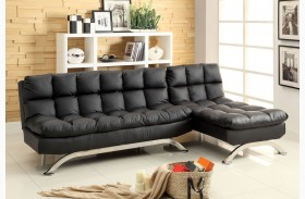Aristo Black Leatherette Chaise