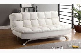 Aristo White Leatherette Futon Sofa