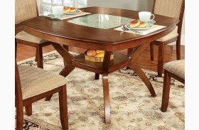 Redding I Oak Glass-Insert Square Pedestal Dining Table