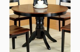 Johnstown Antique Oak and Black Round Pedestal Dining Table