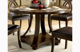 Keukenhof Dark Walnut Round Pedestal Dining Table