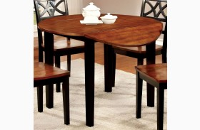 Dover II Black and Cherry Drop Leaf Round Dining Table