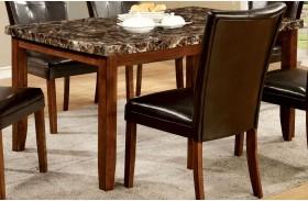 Elmore Antique Oak Faux Marble Top Rectangular Leg Dining Table