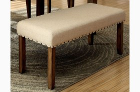 Melston I Ivory Flax Fabric Bench