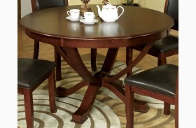 Sandy Point Brown Cherry Round Pedestal Dining Table