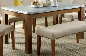 Walsh Natural Tone Galvanized Iron Top Rectangular Dining Table