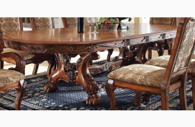 Medieve Antique Oak Rectangular Extendable Trestle Dining Table