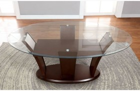 Manhattan I Dark Cherry Oval Pedestal Dining Table