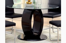 Lodia I Black Glass Top Round Pedestal Dining Table